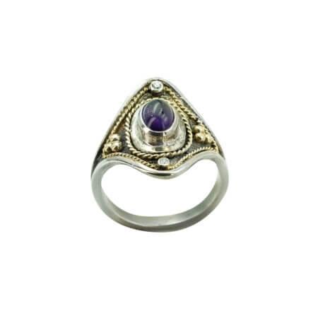 Boho Χειροποίητο Δαχτυλίδι Με Αμέθυστο Ασημόχρυσο 950-18Κ