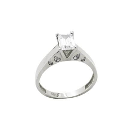 Δαχτυλίδι Λευκόχρυσο Μονόπετρο Ζιργκόν Κοπή Baguette Κ14