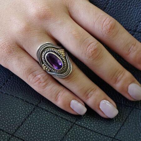 Δαχτυλίδι Με Μωβ Πέτρα