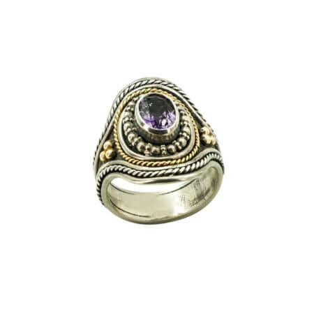 Δαχτυλίδι Χειροποίητο Χρυσό 18Κ Ασήμι 950 Αμέθυστο