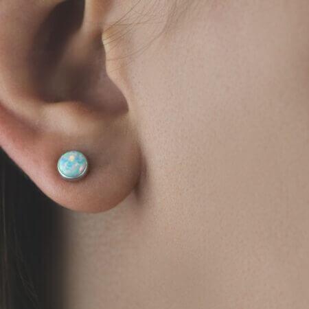 Γυναικεία Λευκόχρυσα Σκουλαρίκια Καρφωτά 14Κ Κόσμημα Πέτρα Οπάλ
