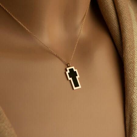 Γυναικείο Ροζ Χρυσό Μενταγιόν Σταυρός Με Μαύρο Σμάλτο Κ9