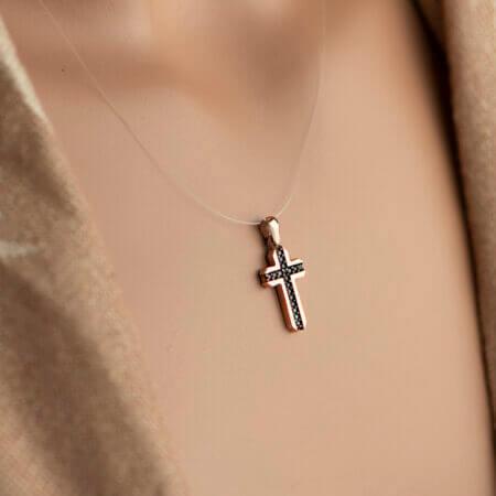 Γυναικείο Σταυρουδάκι Ροζ Χρυσό 14Κ Με Πέτρες Ζιργκόν Κόσμημα Δώρο