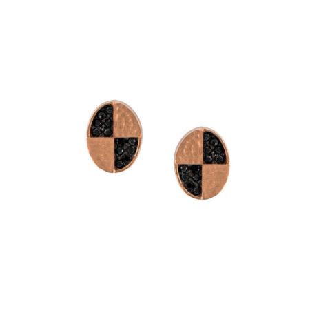 Καρφωτά Σκουλαρίκια Με Μαύρες Πέτρες Ροζ Χρυσό 14Κ
