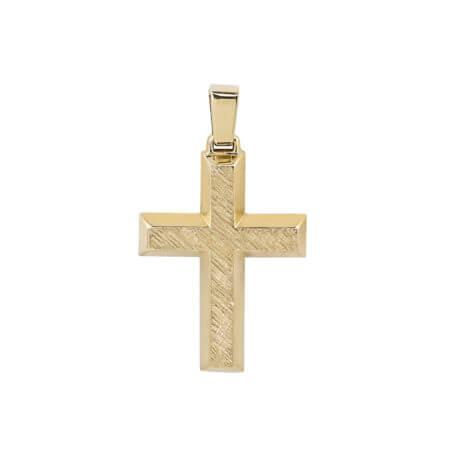 Κίτρινος Χρυσός Σταυρός Για Βάπτιση 14Κ