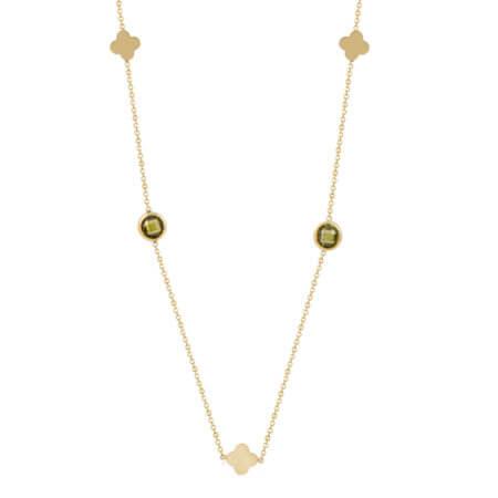 Κολιέ Κίτρινο Χρυσό Με Πέτρα Τουρμαλίνη Λουλούδια 14Κ