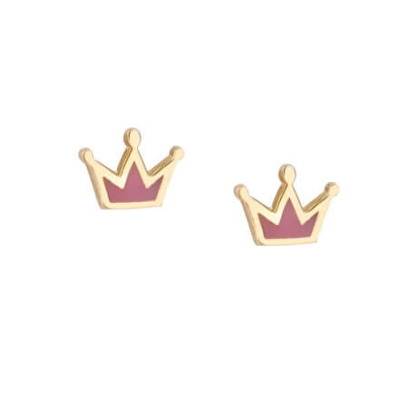 Κορώνες Σκουλαρίκια Χρυσά Με Ροζ Σμάλτο 9Κ