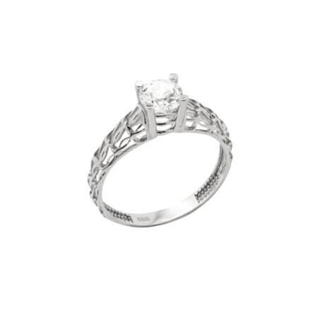 Λευκόχρυσο Μονόπετρο Δαχτυλίδι 14 Καρατίων