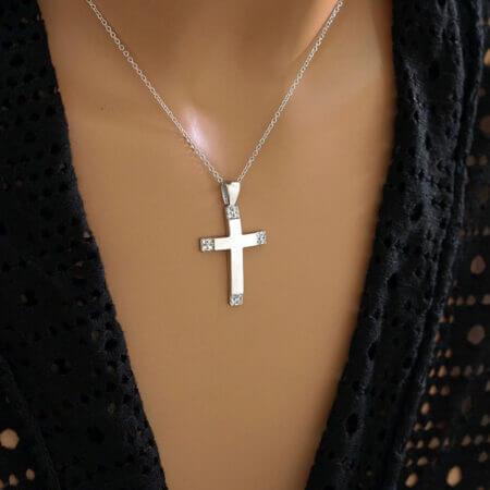 Λευκόχρυσος Σταυρός Δύο Όψεων 14Κ Πέτρες Ζιργκόν Γυναικείος