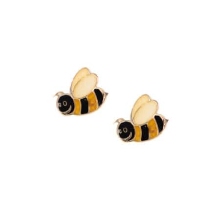 Μέλισσες Σκουλαρίκια Παιδικά Χρυσά 14 Καρατίων