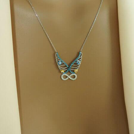 Μενταγιόν Πεταλούδα Από Ασήμι 925 Σχέδιο Άπειρο Λευκές Γαλάζιες Ζιργκόν Πέτρες Ματάκια