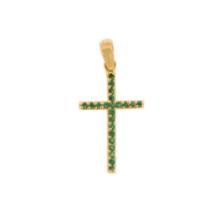 Μικρό Χρυσό Σταυρουδάκι 14Κ Με Πράσινες Ζιργκόν Πέτρες