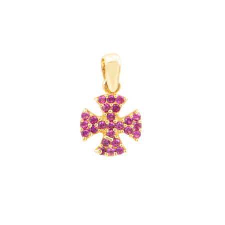 Μικρό Χρυσό Σταυρουδάκι 14Κ Με Ροζ Ζιργκόν Πέτρες