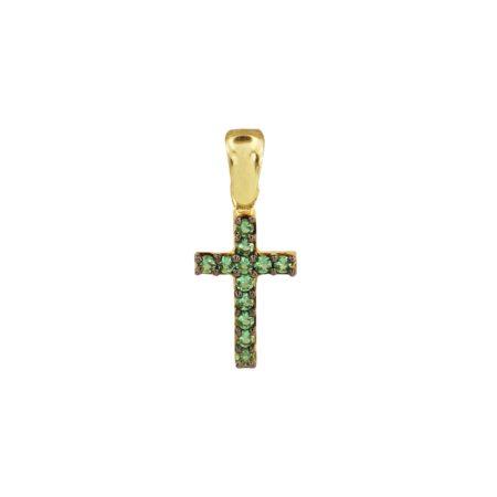 Μικρό Σταυρουδάκι Χρυσό 14Κ Με Πράσινες Ζιργκόν Πέτρες