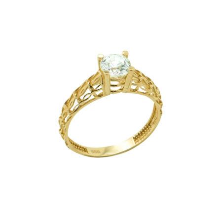 Μονόπετρο Δαχτυλίδι Από Χρυσό 14 Καρατίων Ζιργκόν