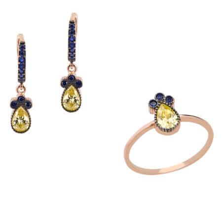 Σετ Κοσμήματα Ασημένια 925 Ζιργκόν Μπλε Κίτρινες Ροζ Επίχρυσο Δαχτυλίδι Σκουλαρίκια
