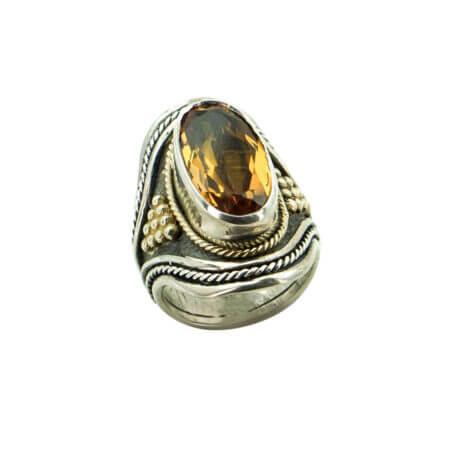 Οβάλ Χειροποίητο Δαχτυλίδι Πέτρα Citrine Ασημόχρυσο 950-18Κ