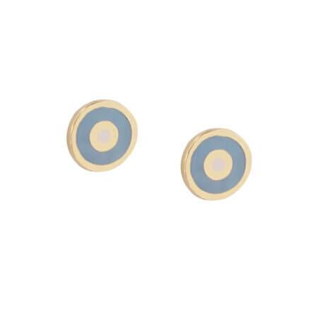 Παιδικά Χρυσά Σκουλαρίκια Ματάκι Με Σμάλτο 9Κ