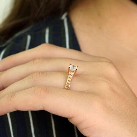 Ροζ Χρυσό Δαχτυλίδι Μονόπετρο