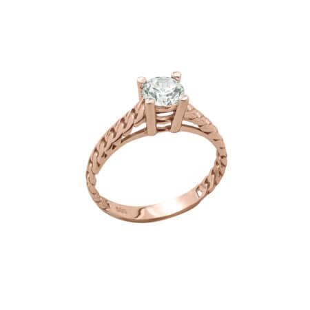 Ροζ Χρυσό Δαχτυλίδι Μονόπετρο Ζιργκόν Πέτρα Κ14