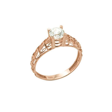 Ροζ Χρυσό Μονόπετρο Δαχτυλίδι Ζιργκόν Πέτρα Κ14