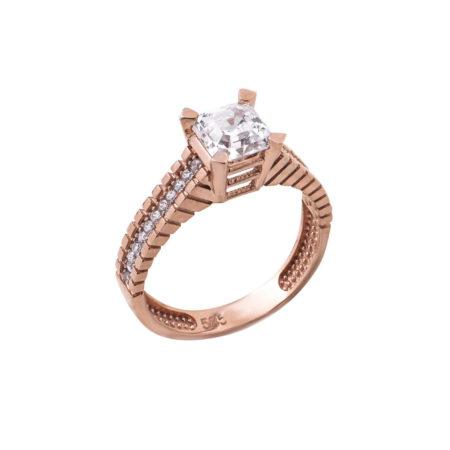 Ροζ Χρυσό Μονόπετρο Με Ζιργκόν Πέτρες Κ14