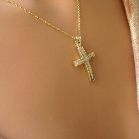 Βαπτιστικός Σταυρός Διπλής Όψης Χρυσό Κ14 Κόσμημα Γυναίκα Κορίτσι Αγόρι