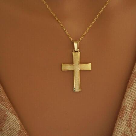 Βαπτιστικός Σταυρός Χρυσός Κορίτσι Αγόρι Κ14 Κόσμημα Δώρο Γυναίκα Άντρας