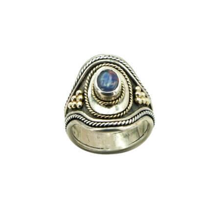 Χειροποίητο Ασημόχρυσο Δαχτυλίδι Με Οπάλιο 950-750