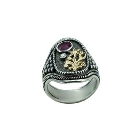 Χειροποίητο Δαχτυλίδι Με Μπριγιάν Ρουμπίνι Ασημόχρυσο 950-18Κ