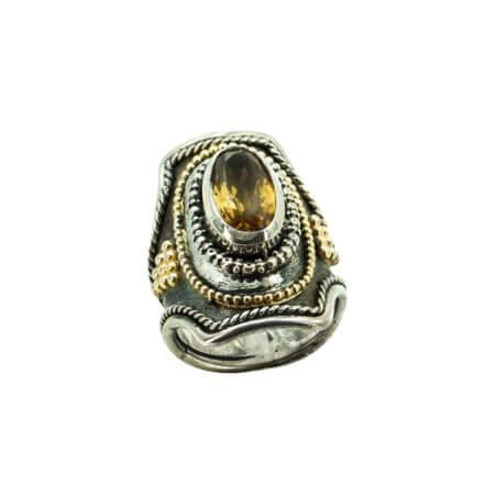 Χειροποίητο Δαχτυλίδι Με Σιτρίν Ασημόχρυσο 950-18Κ