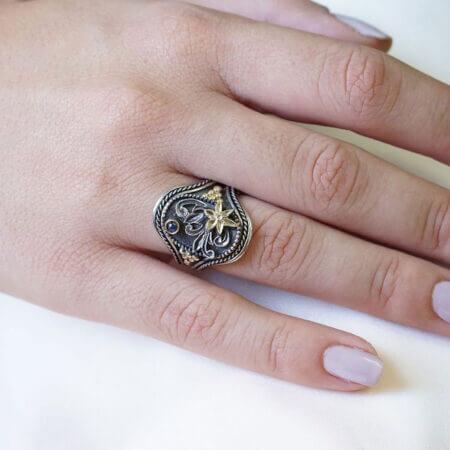Χειροποίητο Δαχτυλίδι Με Ζαφείρι