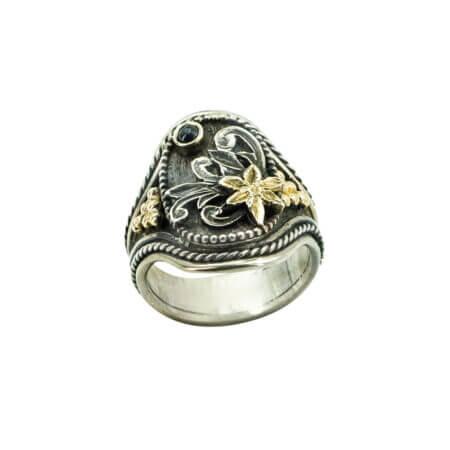 Χειροποίητο Δαχτυλίδι Με Ζαφείρι Χρυσό 18Κ Ασήμι 950