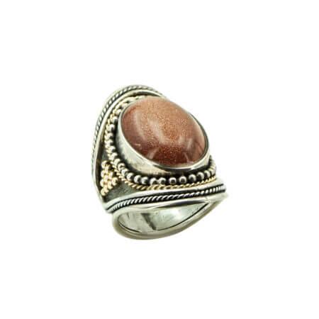 Χειροποίητο Δαχτυλίδι Ορυκτή Πέτρα Χρυσόλιθο Ασημόχρυσο 950-18Κ