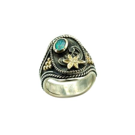 Χειροποίητο Δαχτυλίδι Με Οπάλιο Ασήμι 950 Χρυσό 18Κ