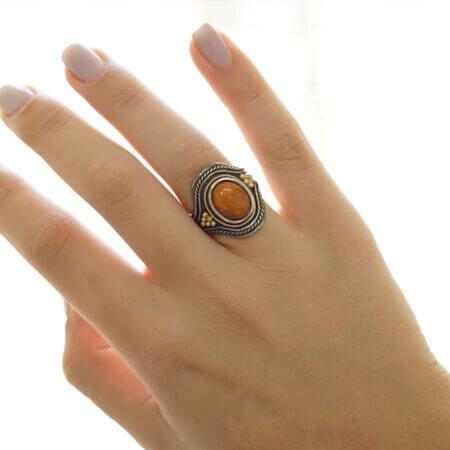 Χειροποίητο Γυναικείο Δαχτυλίδι Με Πέτρα Αχάτη