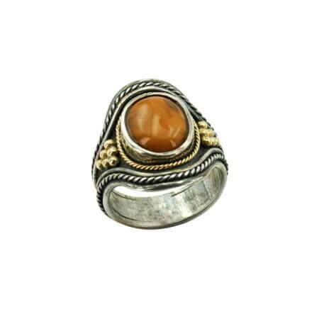 Χειροποίητο Γυναικείο Δαχτυλίδι Με Πέτρα Αχάτη Ασημόχρυσο 950-18Κ
