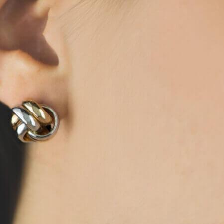 Χρυσά Σκουλαρίκια Κρίκοι Διπλοί 14 Καρατίων Μοντέρνα Κοσμήματα Γυναικεία