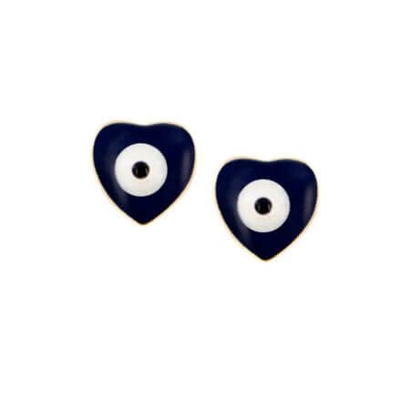 Χρυσά Σκουλαρίκια Μάτια Σχήμα Καρδιάς 14Κ