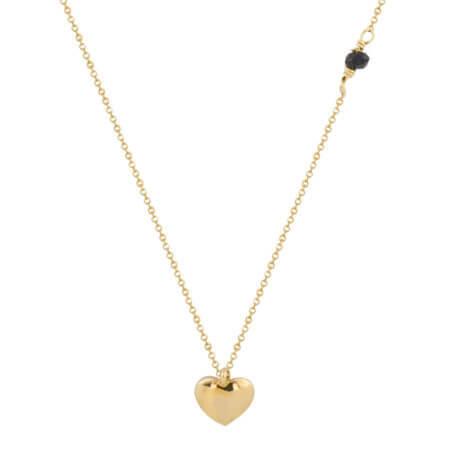 Χρυσή Καρδιά Μενταγιόν Μαύρη Ζιργκόν Πέτρα Αλυσίδα 14Κ