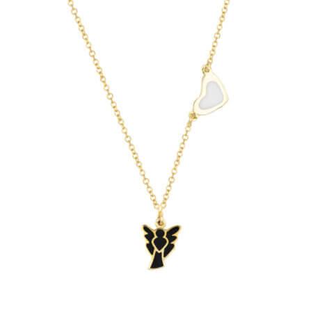 Χρυσό Κρεμαστό Αγγελάκι Καρδιά 14Κ Λευκό Μαύρο Σμάλτο