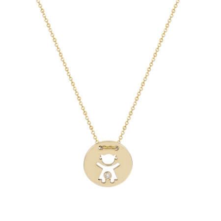 Χρυσό Κόσμημα Για Το Λαιμό Κοριτσάκι Ζιργκόν Πέτρα 14Κ