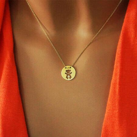 Χρυσό Κόσμημα Για Το Λαιμό Κοριτσάκι Ζιργκόν Πέτρα 14Κ Γυναίκα Μαμά Κολιέ