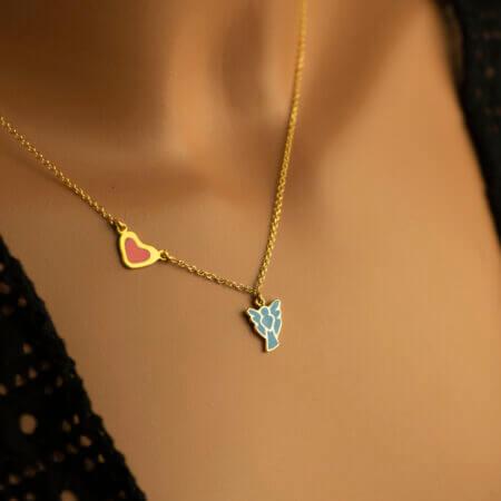Χρυσό Κρεμαστό Αγγελάκι Με Καρδιά 14Κ Σμάλτο Γυναίκα Κορίτσι Κόσμημα Δώρο