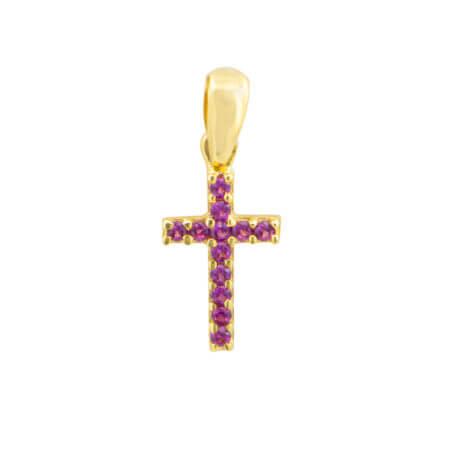 Χρυσό Σταυρουδάκι Για Το Λαιμό Μωβ Ζιργκόν Πέτρες Κ14