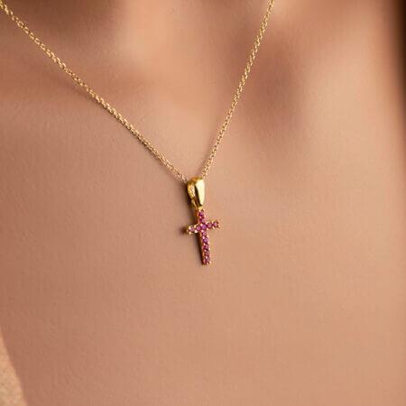 Χρυσό Σταυρουδάκι Για Το Λαιμό Μωβ Ζιργκόν Πέτρες Κ14 Γυναικείο Δώρο Κόσμημα Κρεμαστό