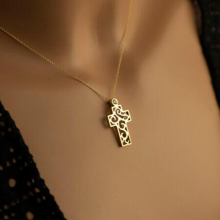 Χρυσός Σταυρός Με Ζιργκόν Μοντέρνα Γραμμή Κ14 Αλυσίδα Γυναίκα Γάμος Αρραβώνας