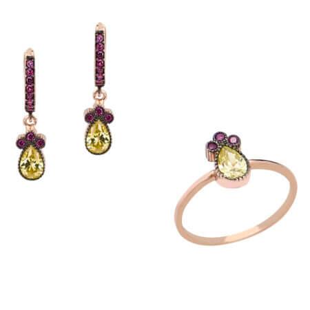 Σετ Κοσμήματα Ασημένια Με Πέτρες 925 Ζιργκόν Μωβ Κίτρινες Δαχτυλίδι Σκουλαρίκια