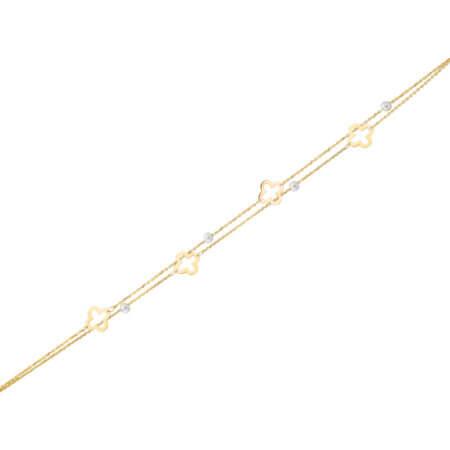 Χρυσό Βραχιόλι Με Μαργαριτάρια Και Λουλούδια 14Κ