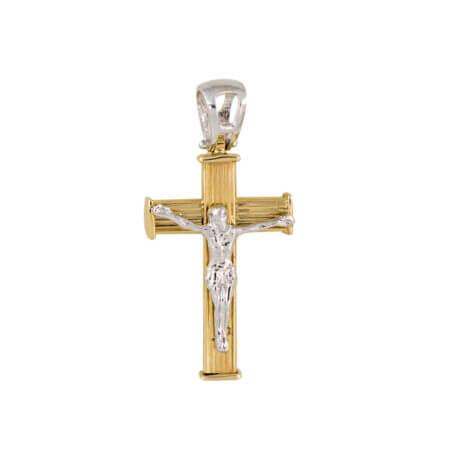 Χρυσός Σταυρός Για Βάπτιση Με Τον Εσταυρωμένο 14 Καρατίων